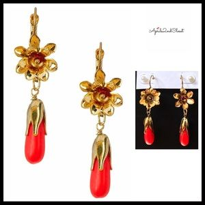 DAINTY DAISY DANGLE DYED JADE GOLD PLATED EARRINGS